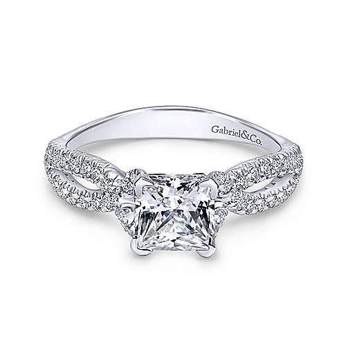 Gabriel - Peyton 18k White Gold Princess Cut Twisted Engagement Ring