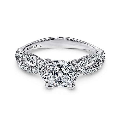 Gabriel - Peyton Platinum Princess Cut Twisted Engagement Ring