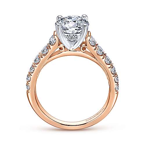 Piper 14k White And Rose Gold Round Straight Engagement Ring angle 2