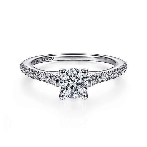 Gabriel - Piper 14k White Gold Round Straight Engagement Ring
