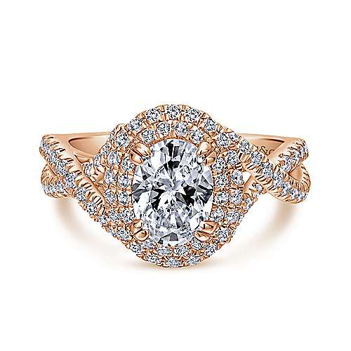 Gabriel - Pippa 14k Rose Gold Oval Double Halo Engagement Ring