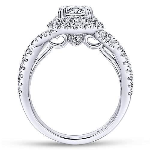 Pippa 14k White Gold Oval Double Halo Engagement Ring angle 2