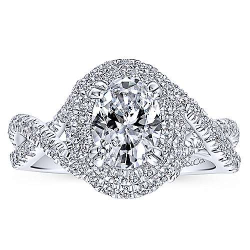Pippa 14k White Gold Oval Double Halo Engagement Ring angle 5