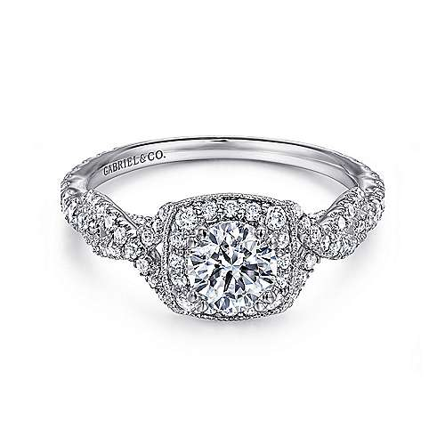 Gabriel - Pixie 14k White Gold Round Halo Engagement Ring
