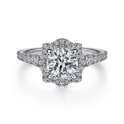 Gabriel - Plaisir 18k White Gold Round Halo Engagement Ring