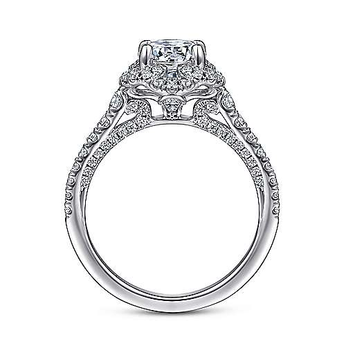Plaisir 18k White Gold Round Halo Engagement Ring