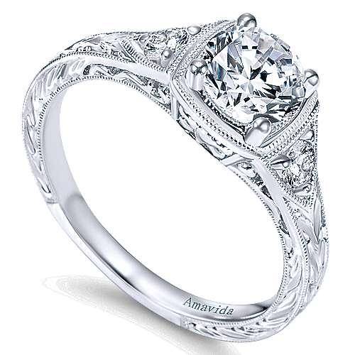 Plat. Diamond Engagement Ring   angle 3