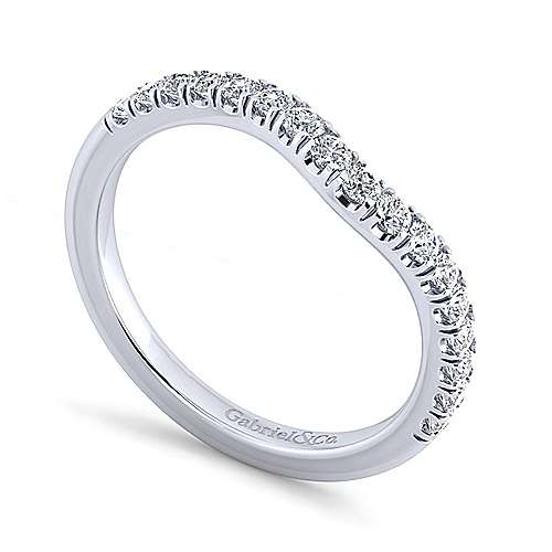 Platinum Contemporary Curved Wedding Band angle 3