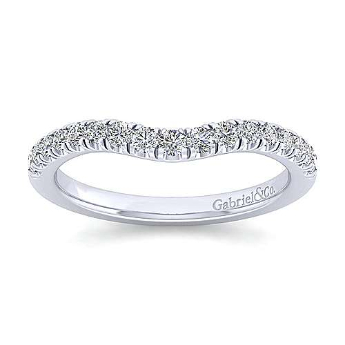 Platinum Contemporary Curved Wedding Band angle 5
