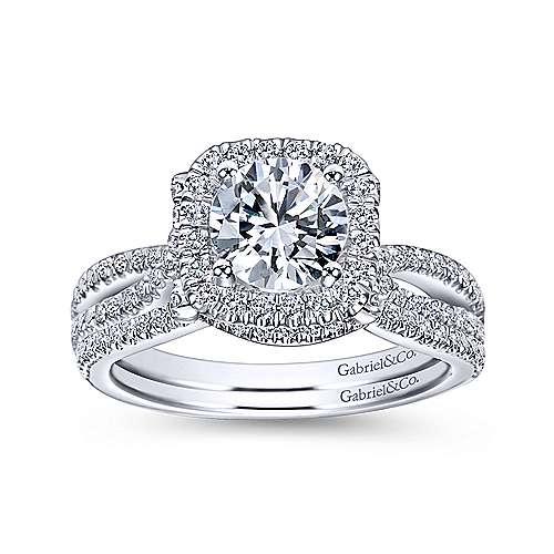 Platinum Contemporary Curved Wedding Band angle 4