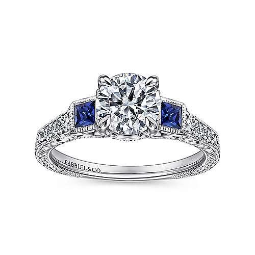 Platinum Diamond  And Sapphire 3 Stones Engagement Ring angle 5