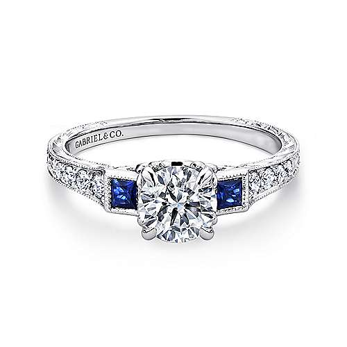 Platinum Diamond  And Sapphire 3 Stones Engagement Ring angle 1