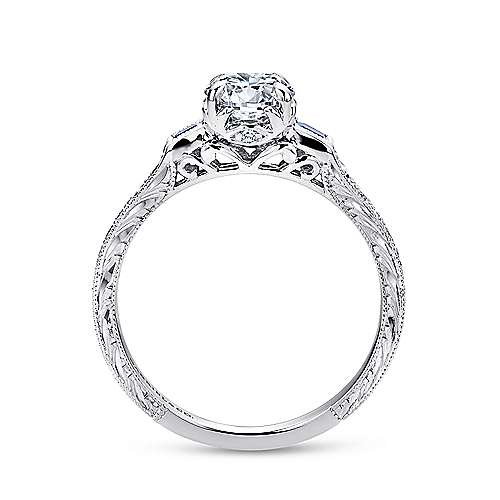 Platinum Diamond  And Sapphire 3 Stones Engagement Ring angle 2