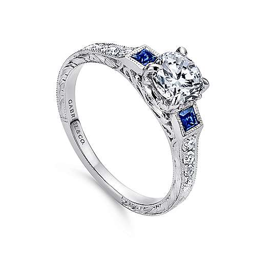 Platinum Diamond  And Sapphire 3 Stones Engagement Ring angle 3