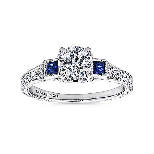 Platinum Diamond  And Sapphire 3 Stones Engagement Ring angle 5