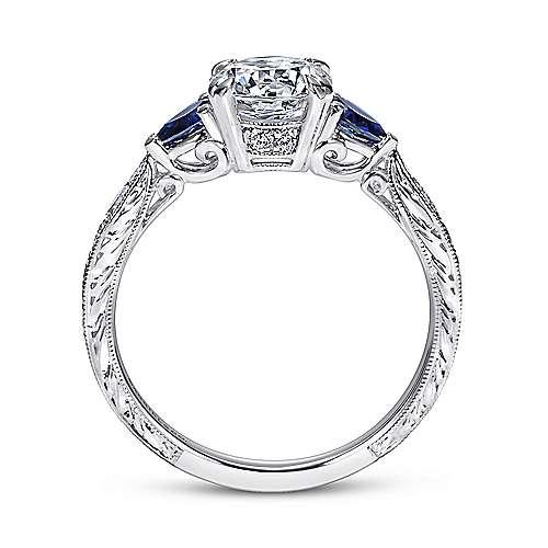 Platinum Diamond  And Sapphire 3 Stones Engagement Ring angle 2