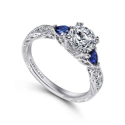 Platinum Diamond  And Sapphire 3 Stones Engagement Ring angle 3