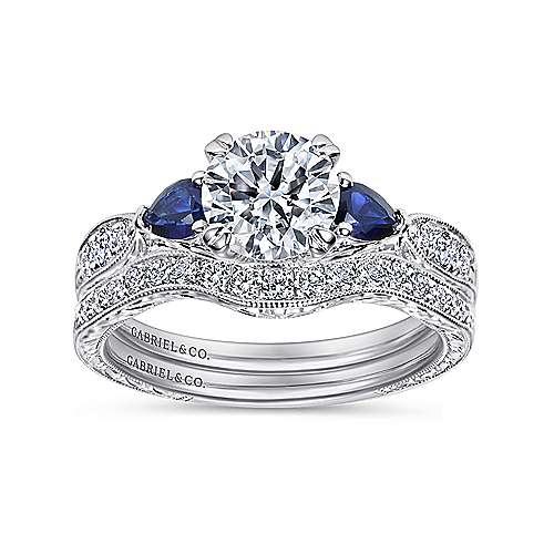 Platinum Diamond  And Sapphire 3 Stones Engagement Ring angle 4