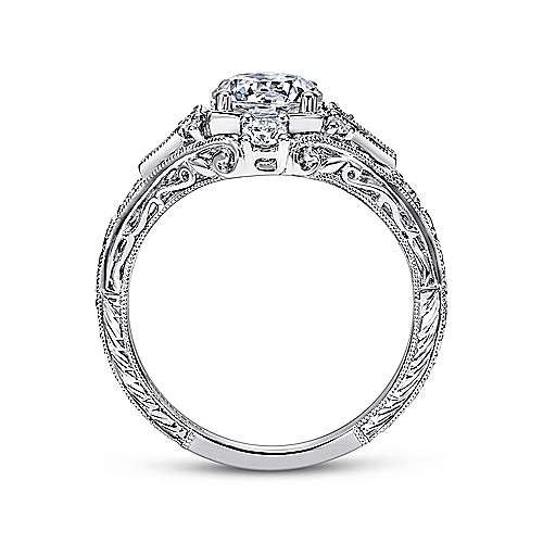 Platinum Diamond  And Sapphire Halo Engagement Ring angle 2