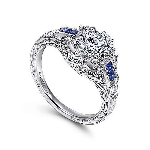 Platinum Diamond  And Sapphire Halo Engagement Ring angle 3