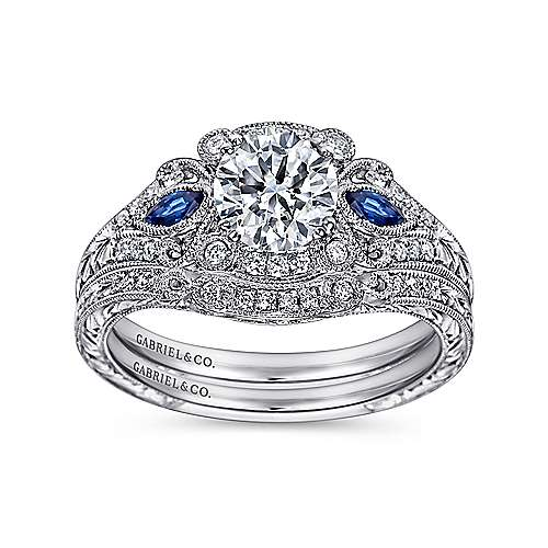 Platinum Diamond  And Sapphire Halo Engagement Ring angle 4