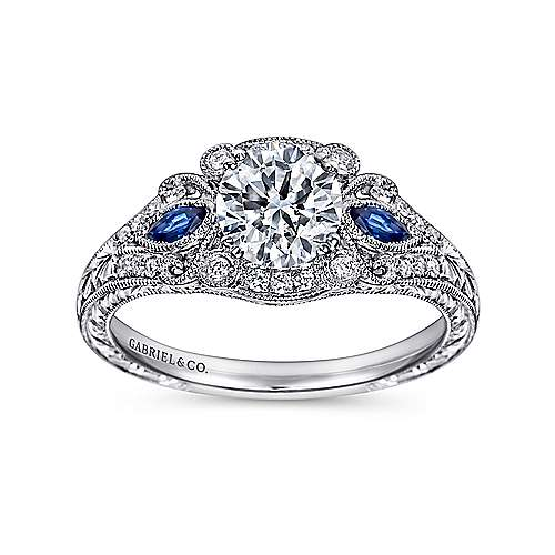 Platinum Diamond  And Sapphire Halo Engagement Ring angle 5