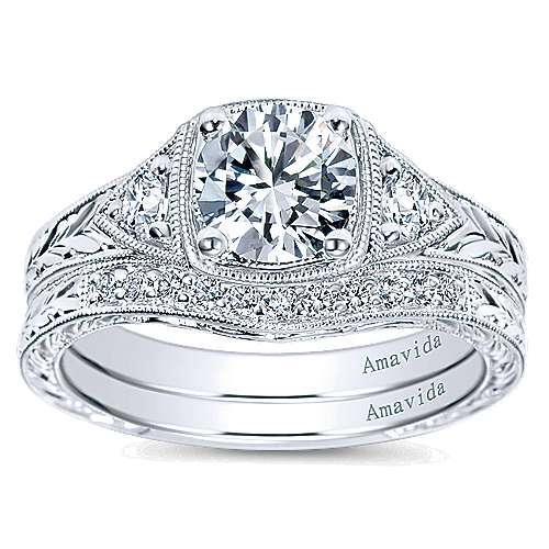 Platinum Diamond 3 Stones Engagement Ring angle 4