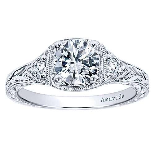 Platinum Diamond 3 Stones Engagement Ring angle 5