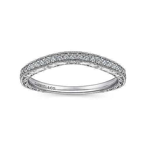 Platinum Diamond Curved Wedding Band angle 5