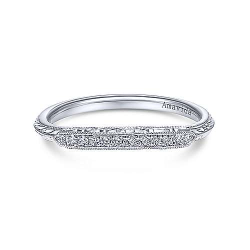 Platinum Diamond Curved Wedding Band angle 1