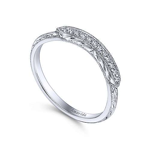 Platinum Diamond Curved Wedding Band angle 3