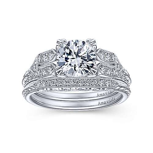 Platinum Diamond Curved Wedding Band angle 4
