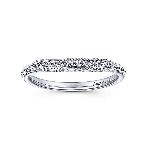 Platinum Diamond Curved Wedding Band angle 5