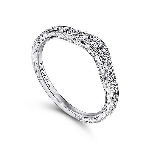 Platinum Diamond Curved Wedding Band angle 3