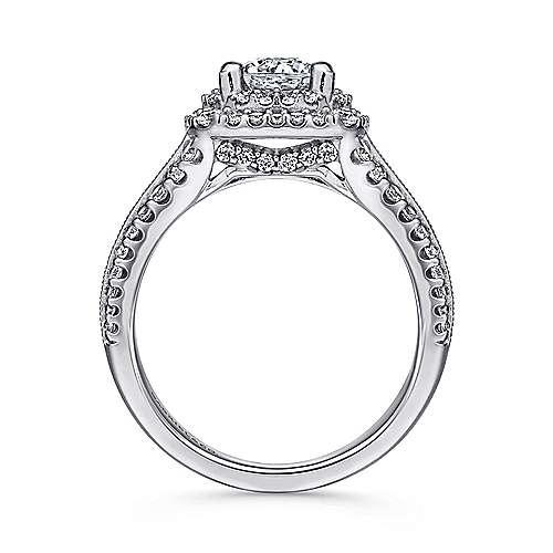 Platinum Diamond Double Halo Engagement Ring angle 2