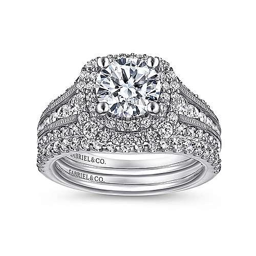 Platinum Diamond Double Halo Engagement Ring angle 4