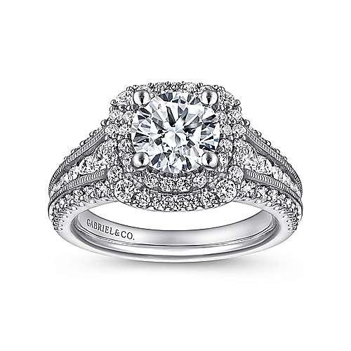 Platinum Diamond Double Halo Engagement Ring angle 5