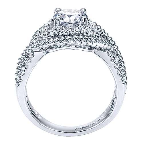 Platinum Diamond Free Form Engagement Ring angle 2