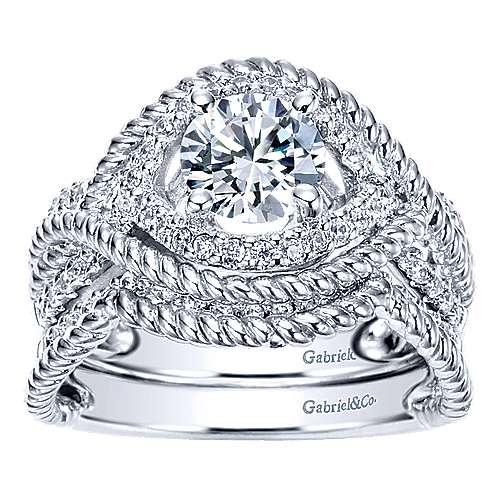 Platinum Diamond Free Form Engagement Ring angle 4