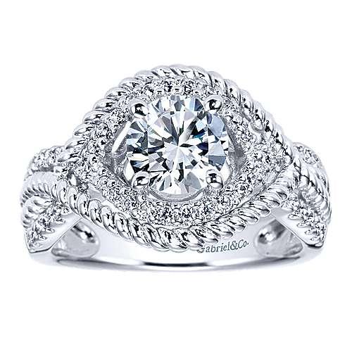 Platinum Diamond Free Form Engagement Ring angle 5