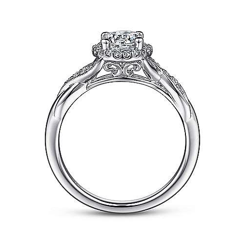 Platinum Diamond Halo Engagement Ring angle 2