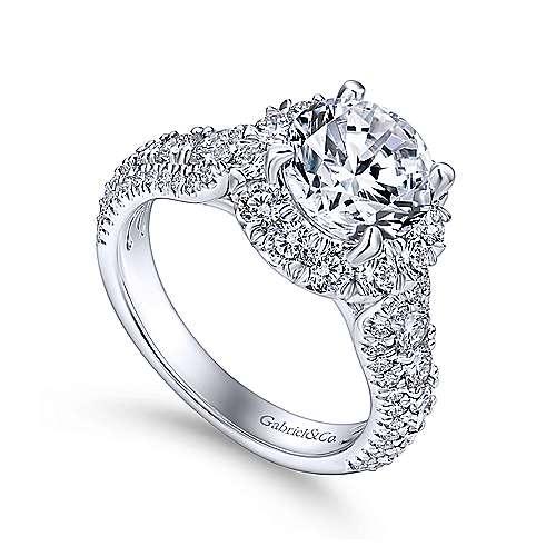 Platinum Diamond Halo Engagement Ring angle 3