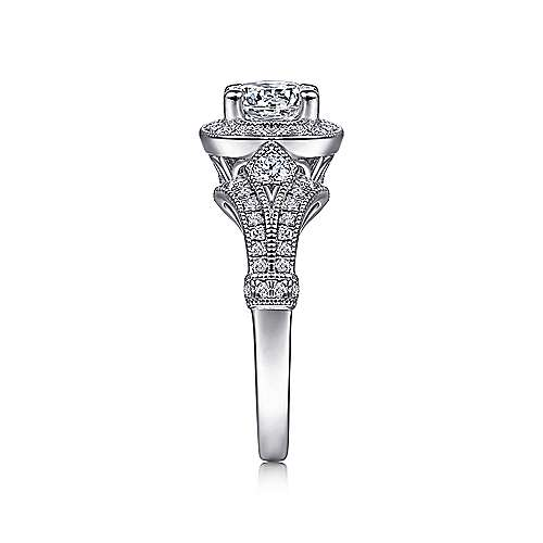 Platinum Diamond Halo Engagement Ring angle 5