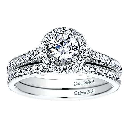 Platinum Diamond Halo Engagement Ring angle 4