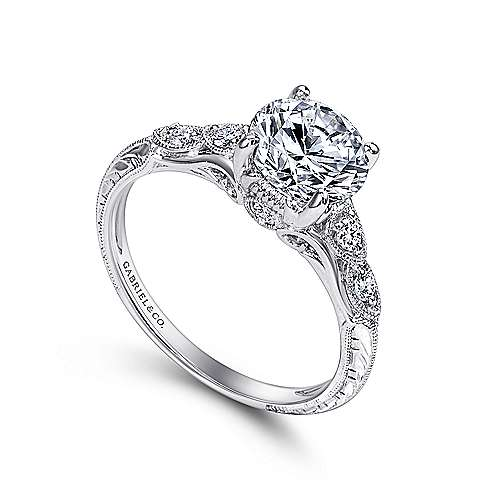 Platinum Round Straight Engagement Ring ER10044PT3JJ Engagement Rings Fashi