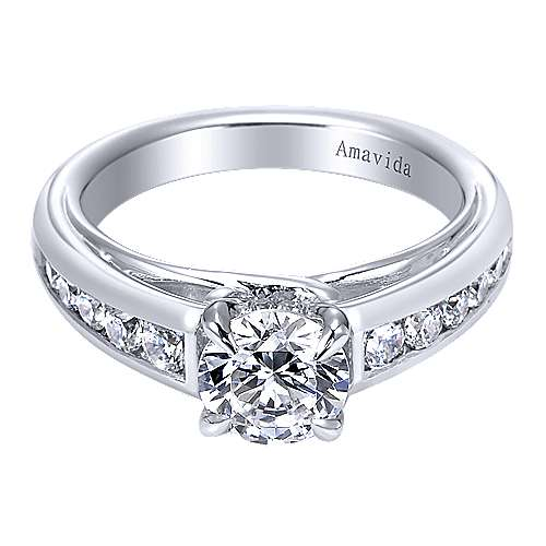 Gabriel - Platinum Round Straight Engagement Ring