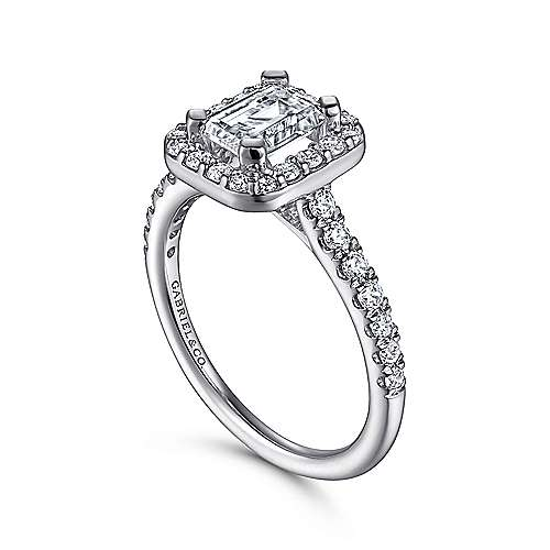 Platinum Emerald Cut Halo Engagement Ring angle 3