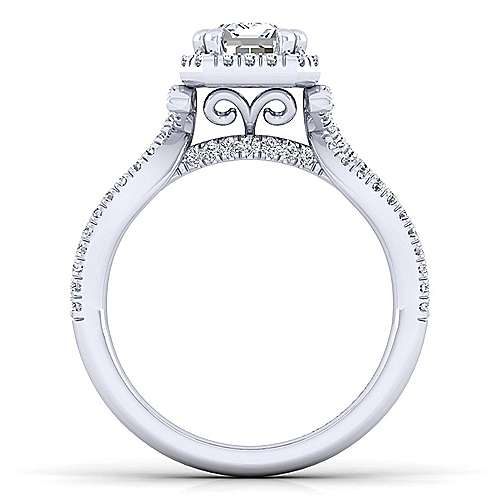 Platinum Emerald Cut Halo Engagement Ring angle 2