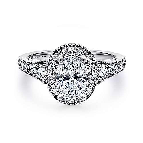 Gabriel - Platinum Oval Halo Engagement Ring