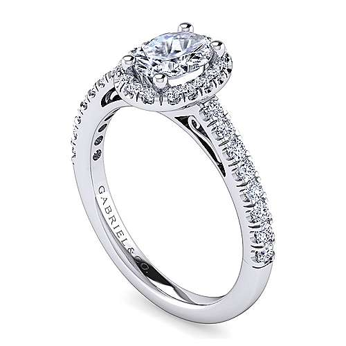 Platinum Oval Halo Engagement Ring angle 3